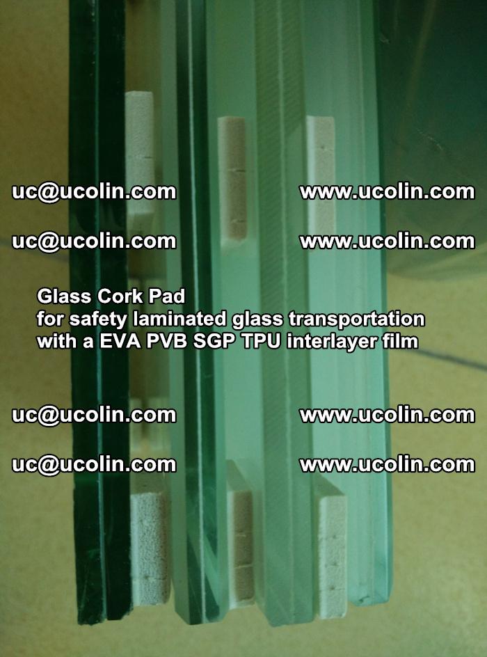 Glass Cork Pad for safety laminated glass transportation with a EVA PVB SGP TPU interlayer film (146)