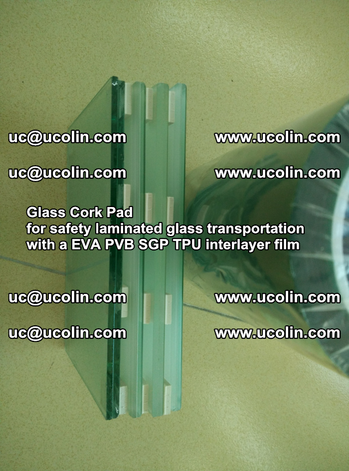 Glass Cork Pad for safety laminated glass transportation with a EVA PVB SGP TPU interlayer film (149)