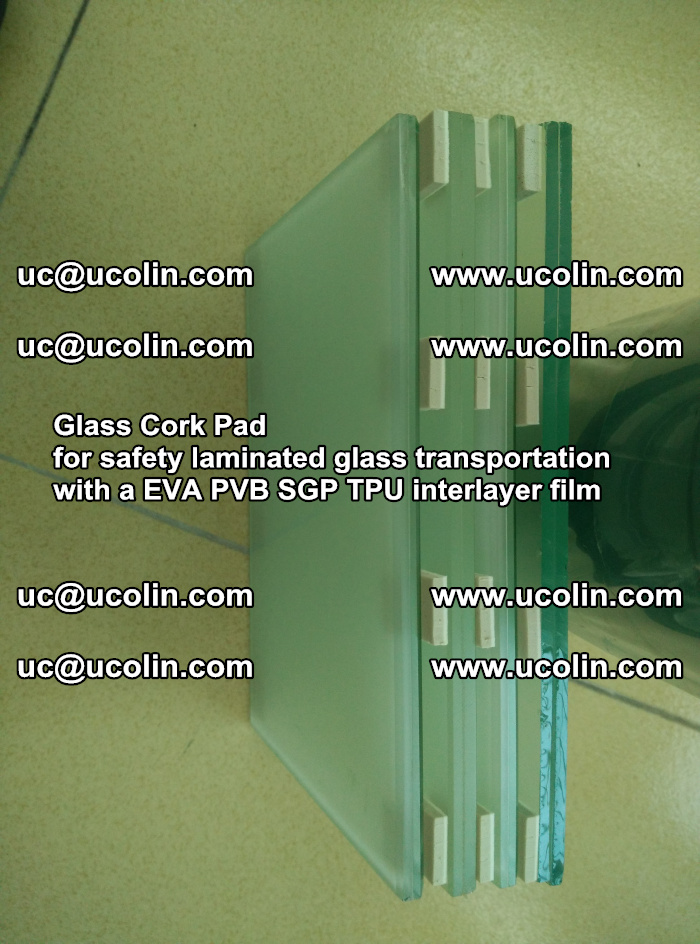 Glass Cork Pad for safety laminated glass transportation with a EVA PVB SGP TPU interlayer film (22)