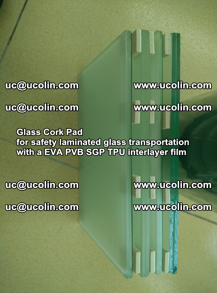Glass Cork Pad for safety laminated glass transportation with a EVA PVB SGP TPU interlayer film (24)