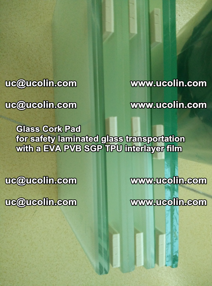 Glass Cork Pad for safety laminated glass transportation with a EVA PVB SGP TPU interlayer film (39)