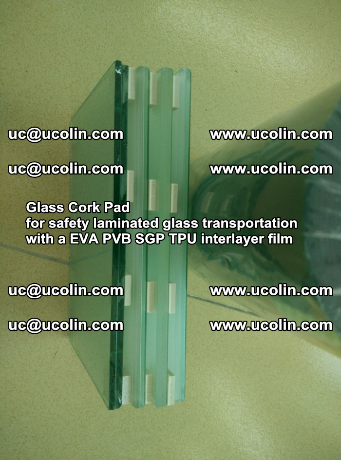 Glass Cork Pad for safety laminated glass transportation with a EVA PVB SGP TPU interlayer film (4)