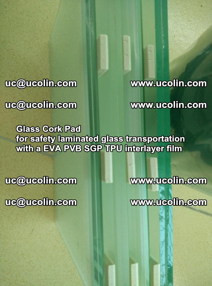 Glass Cork Pad for safety laminated glass transportation with a EVA PVB SGP TPU interlayer film (42)