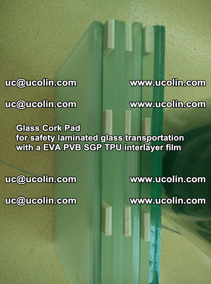 Glass Cork Pad for safety laminated glass transportation with a EVA PVB SGP TPU interlayer film (51)