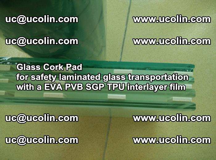 Glass Cork Pad for safety laminated glass transportation with a EVA PVB SGP TPU interlayer film (57)
