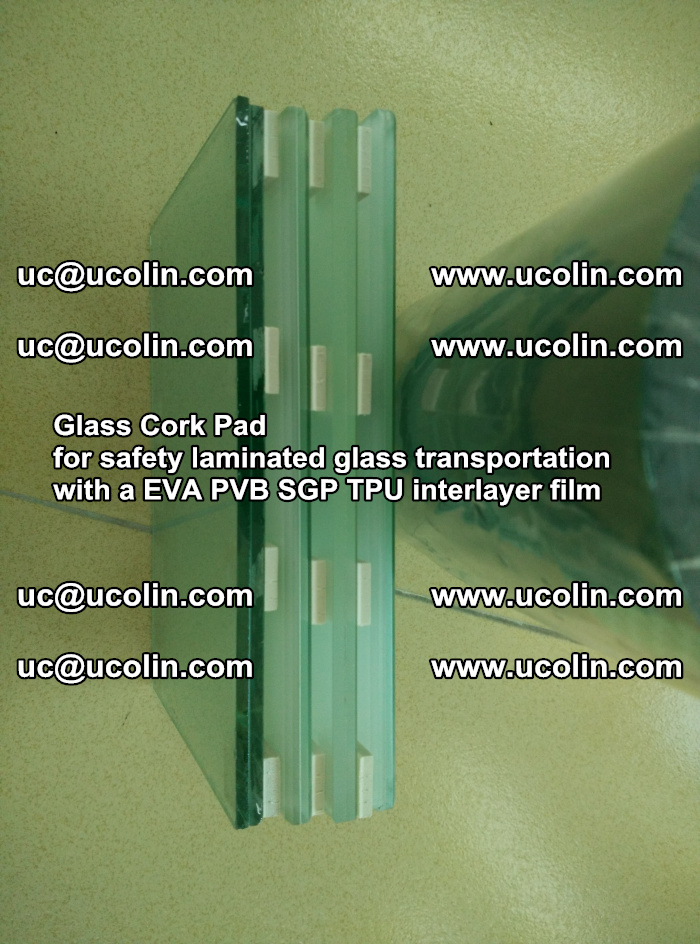 Glass Cork Pad for safety laminated glass transportation with a EVA PVB SGP TPU interlayer film (6)