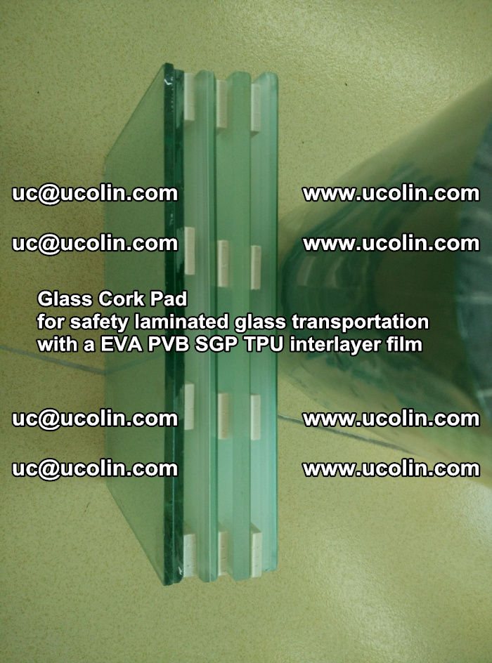Glass Cork Pad for safety laminated glass transportation with a EVA PVB SGP TPU interlayer film (9)